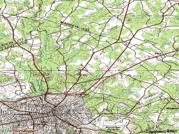Zip code 30601 topographic map