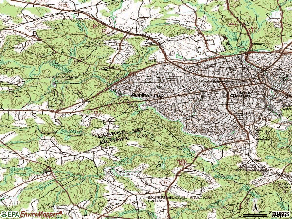 Zip code 30606 topographic map