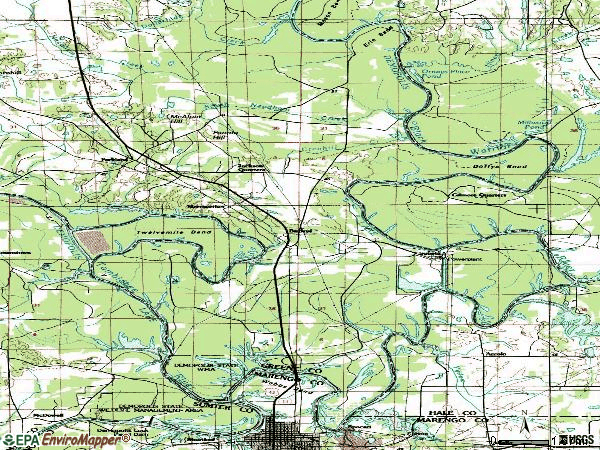 Zip code 36740 topographic map