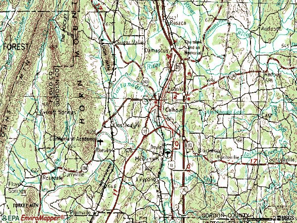 Zip code 30701 topographic map