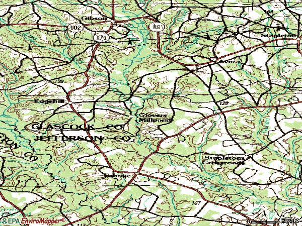 Zip code 30803 topographic map