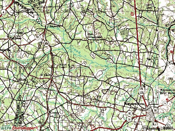 Zip code 30816 topographic map