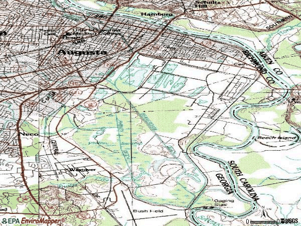 Zip code 30901 topographic map