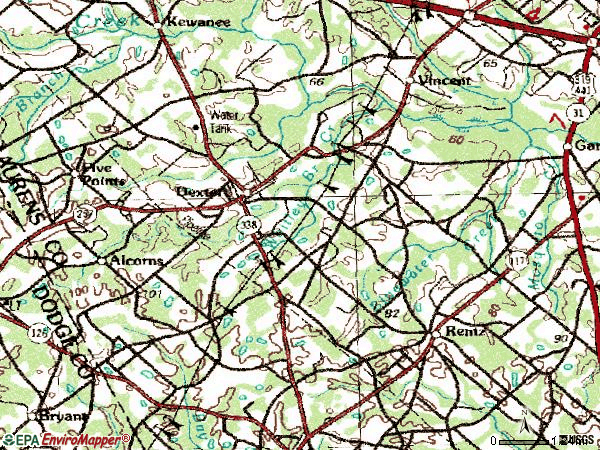 Zip code 31019 topographic map