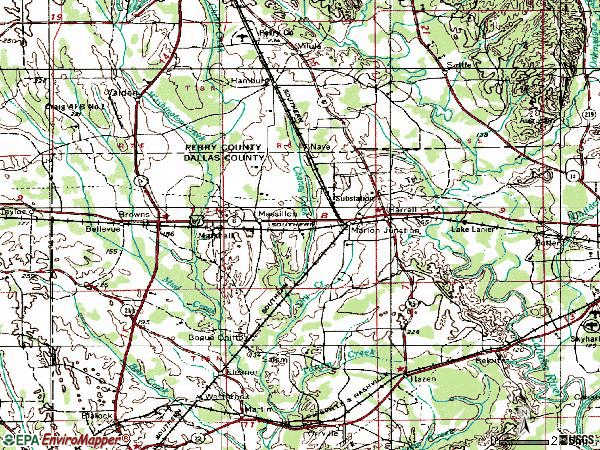 Zip code 36759 topographic map