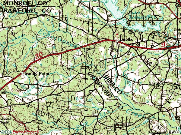 Zip code 31052 topographic map