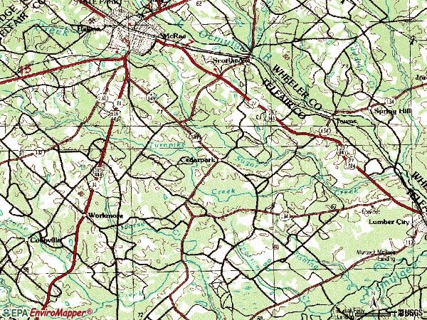 Zip code 31055 topographic map
