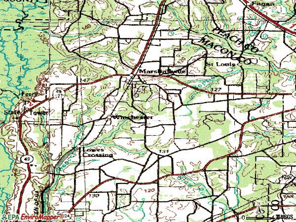 Zip code 31057 topographic map