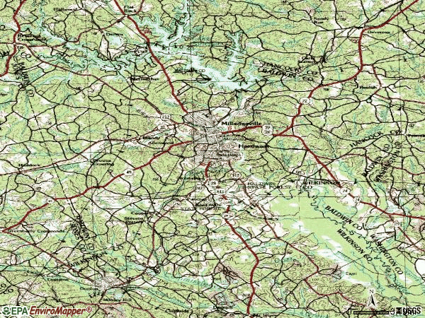 Zip code 31061 topographic map
