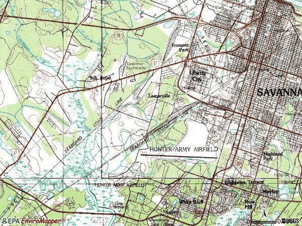 Zip code 31405 topographic map