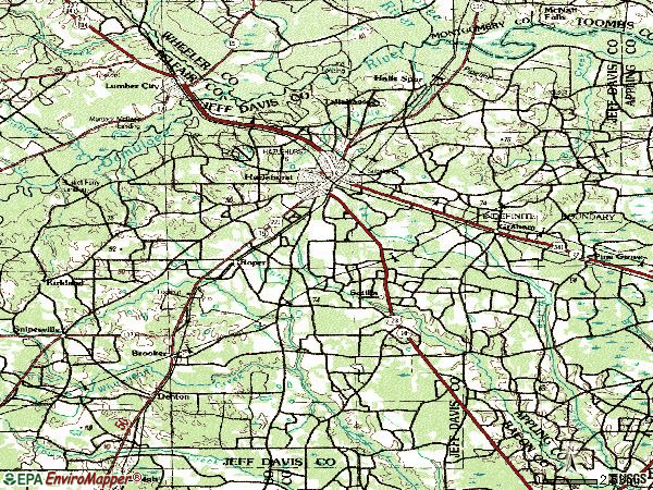 Zip code 31539 topographic map
