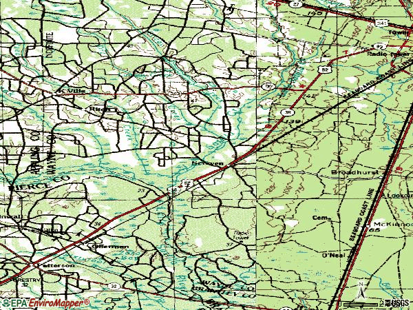 Zip code 31560 topographic map