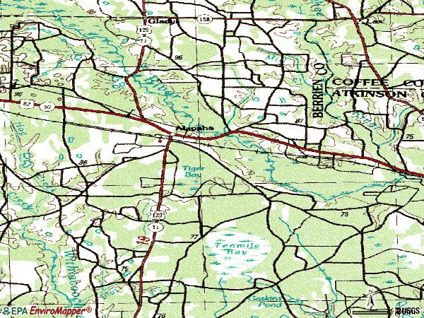 Zip code 31622 topographic map
