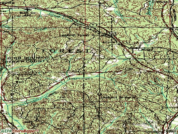 Zip code 36793 topographic map