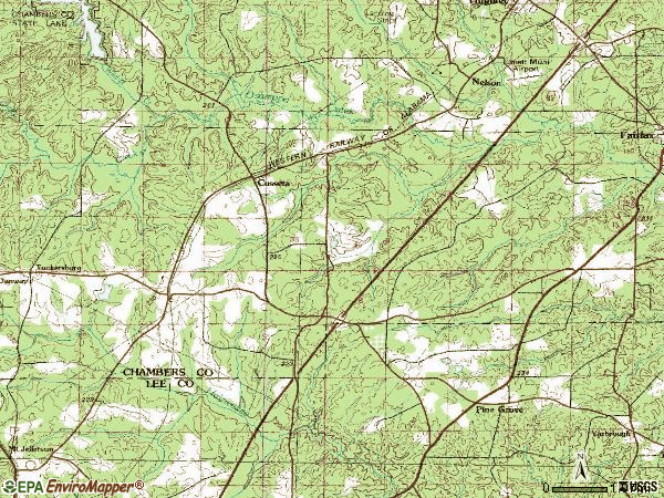 Zip code 36852 topographic map