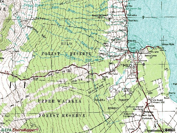 Zip code 96720 topographic map