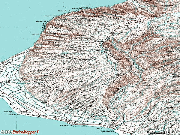 Zip code 96796 topographic map