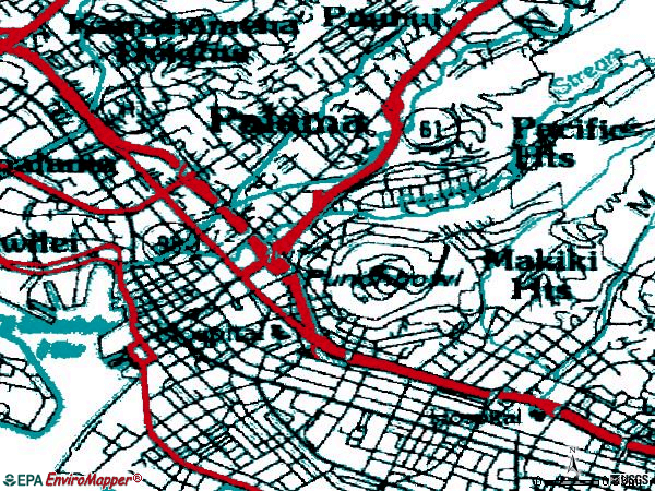 Zip code 96813 topographic map
