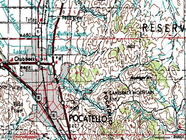 Zip code 83201 topographic map