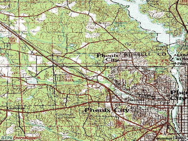 Zip code 36867 topographic map