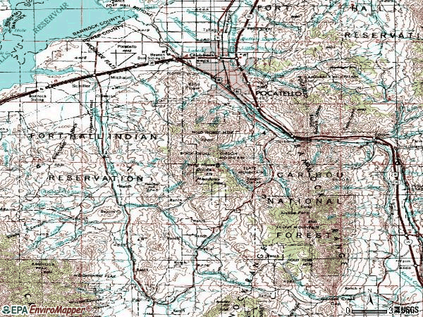 Zip code 83204 topographic map