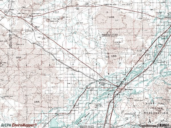 Zip code 83221 topographic map