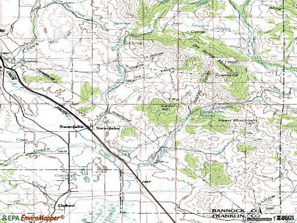 Zip code 83281 topographic map