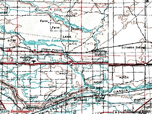 Zip code 83335 topographic map
