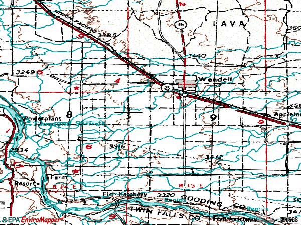 Zip code 83355 topographic map