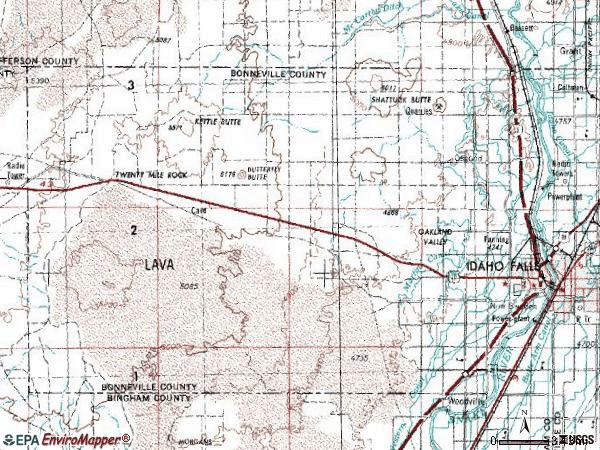 Zip code 83402 topographic map