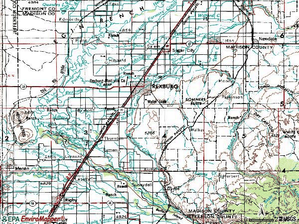 Zip code 83440 topographic map