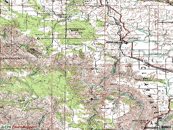 Zip code 83522 topographic map