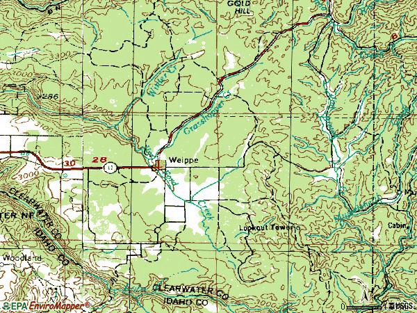 Zip code 83553 topographic map