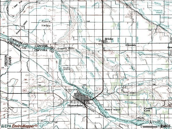 Zip code 83676 topographic map