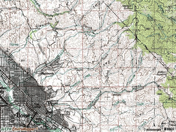 Zip code 83702 topographic map