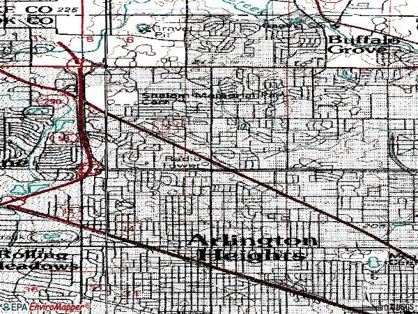 Zip code 60004 topographic map