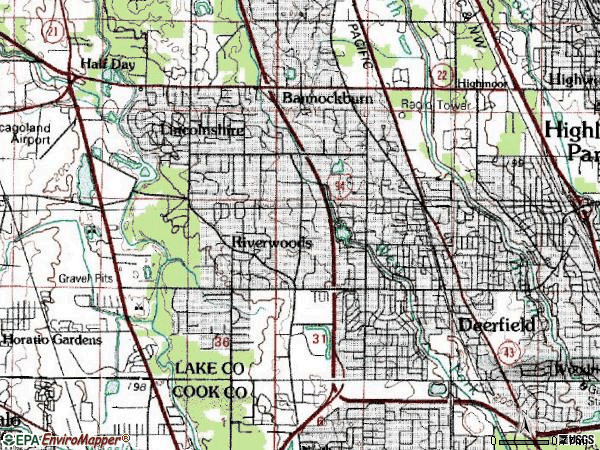 Zip code 60015 topographic map