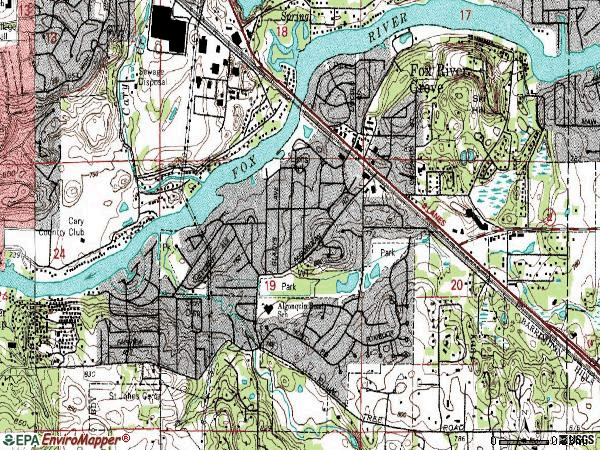 Zip code 60021 topographic map