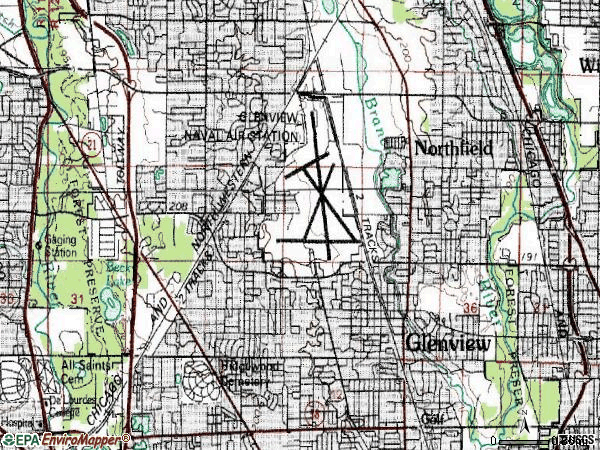 Zip code 60025 topographic map