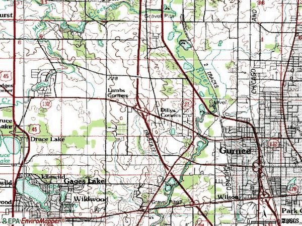Zip code 60031 topographic map