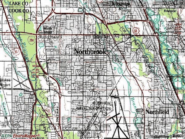 Zip code 60062 topographic map