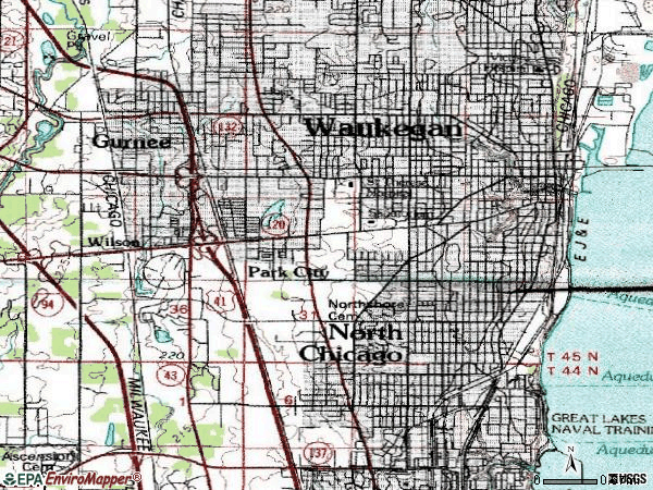 Zip code 60085 topographic map