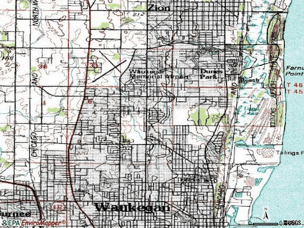 Zip code 60087 topographic map