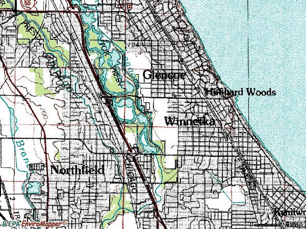 Zip code 60093 topographic map