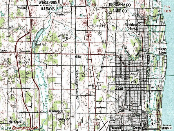 Zip code 60099 topographic map