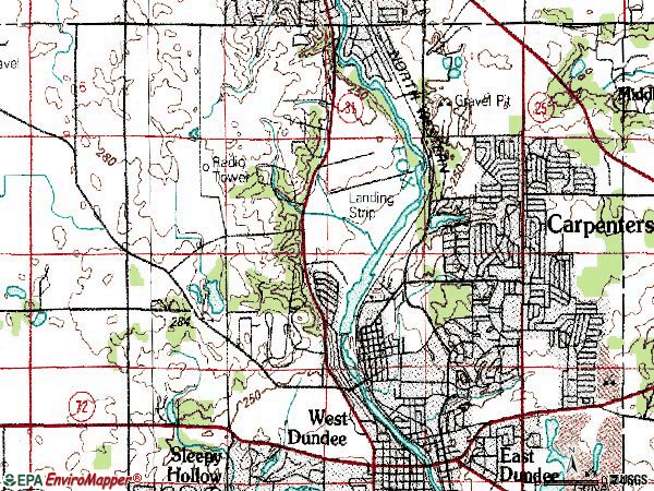 Zip code 60110 topographic map