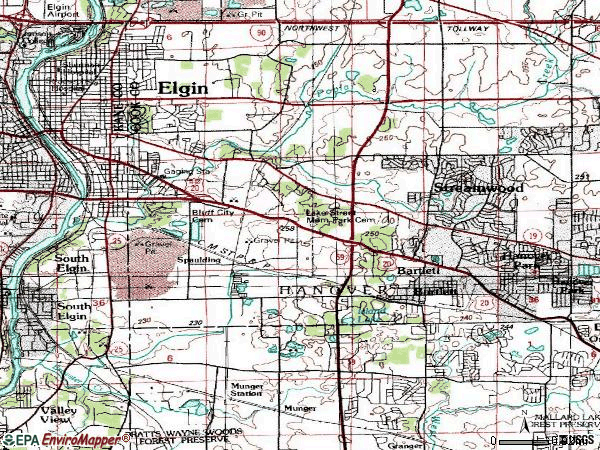 Zip code 60120 topographic map
