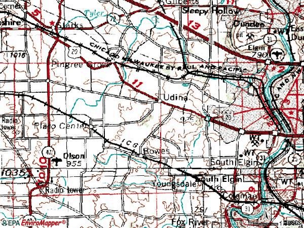 Zip code 60123 topographic map