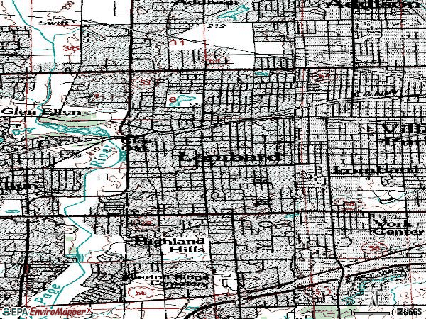 Zip code 60148 topographic map
