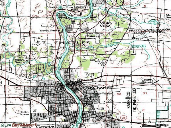 Zip code 60174 topographic map